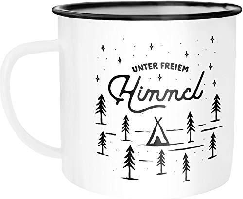 """Moonworks Emaille Tasse Becher Outdoor Design Spruch\""""unter freiem Himmel\"""" Travelling Camping Trekking Kaffeetasse weiß-schwarz Emailletasse"""