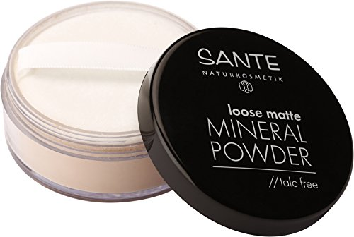 SANTE Naturkosmetik Loose matte Mineral Powder, 02 Sand, Mattiertes Finish, Vegan, Bio-Extrakte, Natural Make-up, 12g