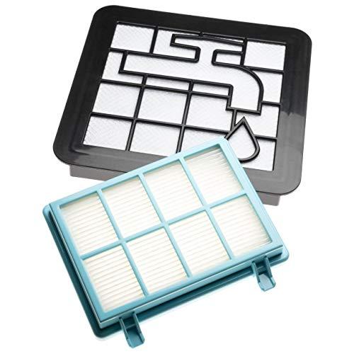 vhbw Set de filtros de recambio para aspiradoras Philips PowerPro Compact FC9330/09, FC9331/07, FC9331/09; Filtro HEPA, protector motor, espuma