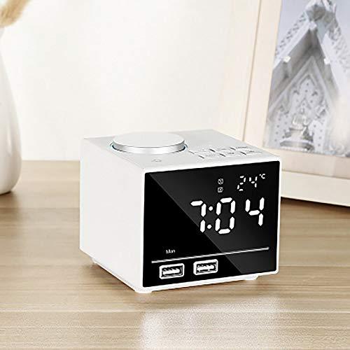 TEHWDE Digitale wekker voor nachtkastje, wekker, FM digitale wekker met dubbele USB-oplading met 5 helderheidsniveaus instelbaar, temperatuur sluimerfunctie dubbel alarm voor op kantoor