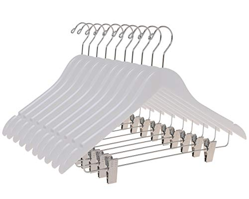 Quality Wooden Skirt Hangers with Clips, 10-Pack Smooth Solid Wood Pants Hangers with Durable Adjustable Metal Clips, Swivel Hook, Coat, Jacket, Blouse Suit Hangers (White, 10)
