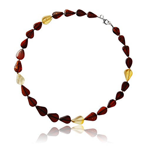 Goldmajor Women 925 Sterling Silver Multicolour Amber Strand Necklace of Length 42cm CL877