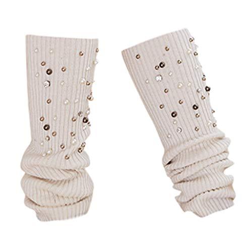 KaloryWee Damen Warme Socken Perle Stickerei Fashion Einfarbige Kniestrümpfe Hohe Socken Lange Strickstrümpfe Schockiert