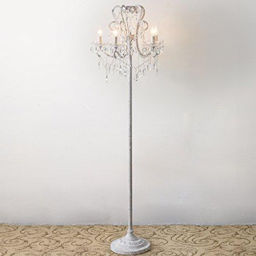 Amerikanischen Land Stehlampe Kristall Wohnzimmer Stehlampe Vintage Weiße Studie Französisch Kerze Lampe Eisen Stehleuchte 5 kopf