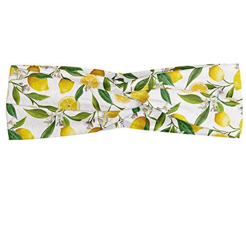 ABAKUHAUS Diadame Cocina, Banda Elástica y Suave para Mujer para Deportes y Uso Diario Exóticos ramas de los árboles de limón delicioso delicioso para huertos de Diseño, Helecho Verde Amarillo