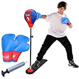 COMPLETE BOXING EQUIPMENT FOR KIDS & TEENS: Toyshine punching bag set is super easy to set up and includes everything you need for a boxing session. The inflatable punching ball comes with a durable Stable base, spring loaded adjustable shaft, a pair...