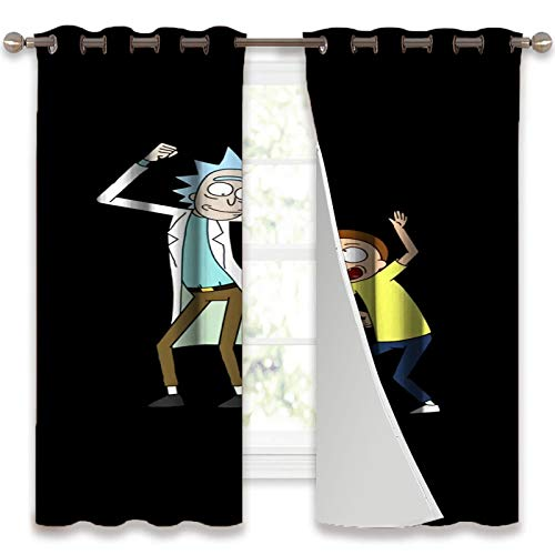 SSKJTC Bay Window Curtains Rick and Morty Best Window Treatments Draperies for Bedroom W55 x L39