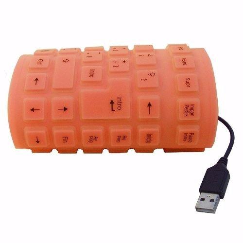 MODAVELA Teclado Alambrico Flexible USB Pc Laptop contra Agua Polvo (Naranja)