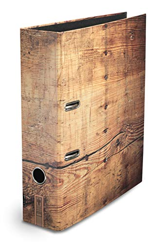 "Ordner Motiv ""Holzmichl""   für Männer & Frauen   DIN A4   ca. 8 cm breit   Motivordner in rustikaler Holz-Optik, braun - Schreibgefühl®"