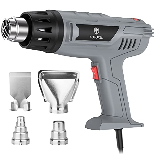 1850W Heat Gun Variable Temperature Settings 122℉~1202℉(50℃- 650℃), AUTOXEL Fast Heat Hot Air Gun, Durable& Overload Protection, with 4 Nozzels for Shrink Wrap,Vinyl, Crafts, Epoxy Resin