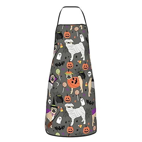 Delantal de Halloween Disfraces de momia bruja vampiro perro perro raza delantales por mascotas para hombres y mujeres, delantal ajustable duradero para cocina, cocina, restaurante