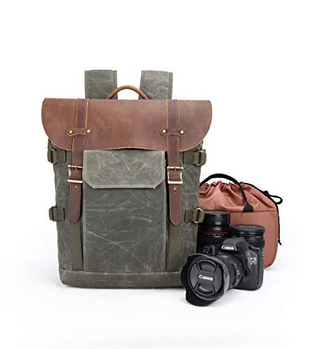 Large Capacity Camera Backpacks Waterproof Canvas Leather DSLR Rucksacks Big Camera Bag (Army Green)