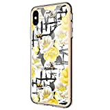 Compatible for iPhone X Case for Women/Girls,Pretty Phone Case Flower Design Transparent Slim Soft Drop-Proof Against Fingerprints & Yellowing Bumper Cushion Silicone Floral Clear Cover Shell (8)