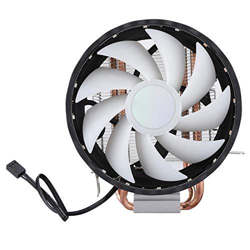 Nuobi Ventilador de CPU, Enfriador de CPU de 2 Tubos, Ventilador de enfriamiento de Aire Magic Light, Radiador de enfriamiento de CPU de un Solo Ventilador para computadora del Sistema de