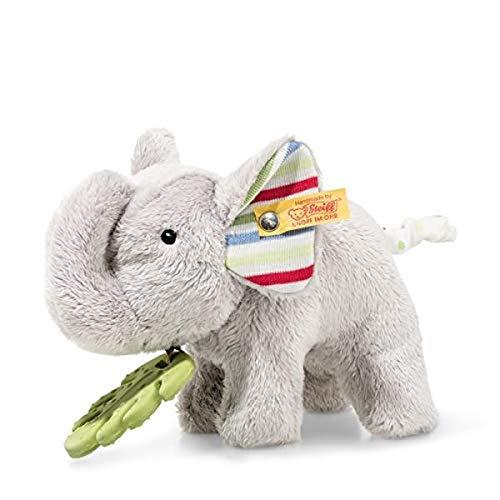 Steiff 242021 Timmi Elefant, Plüschelefant mit Beißring 17 cm, waschbar, grau