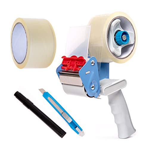 BFO Industries Tape Gun Kit - Tape Dispenser Gun, 2 Rolls Clear Industrial HD Packaging & Moving Tape, Marker & Snap Blade Utility Knife