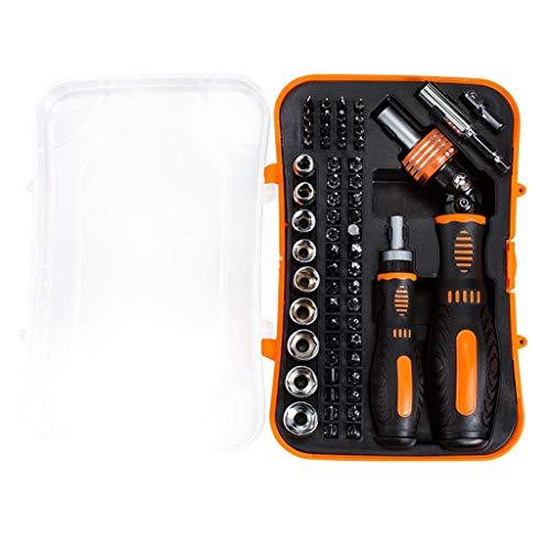 GYZX Destornillador de trinquete Conjunto bits magnéticos Toma de precisión Destornillador Set de bits de bits de trinquete Ajustable 61 en 1 Herramientas de Mano