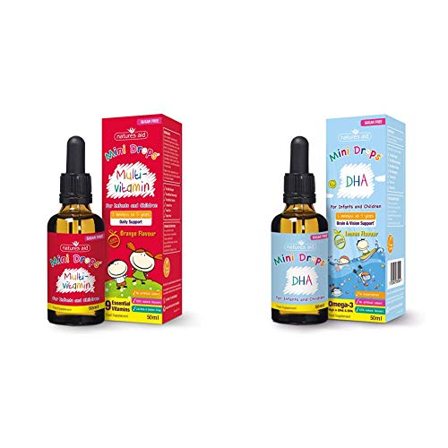Natures Aid Mini Drops Multi-Vitamin for Infants and Children, 50 ml with Omega-3 Drops 50 ml with Cognitive Development, Sugar Free, 50 ml