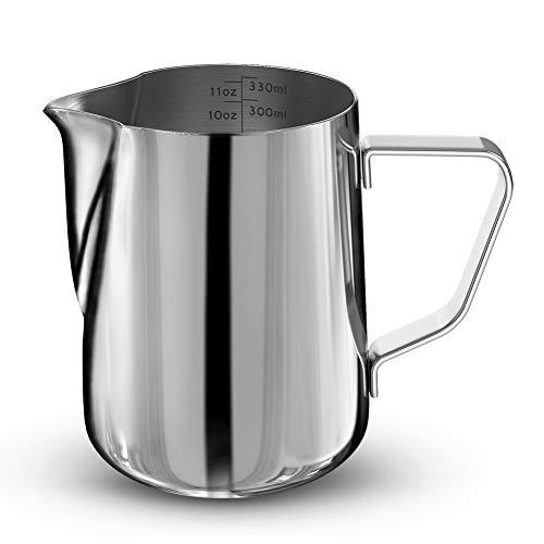 Milchkännchen, Blufied Milk Pitcher 350ml / 12 fl.oz.Milchkanne aus Edelstahl, perfekt für Espressomaschinen, Milchaufschäumer, Latte Art