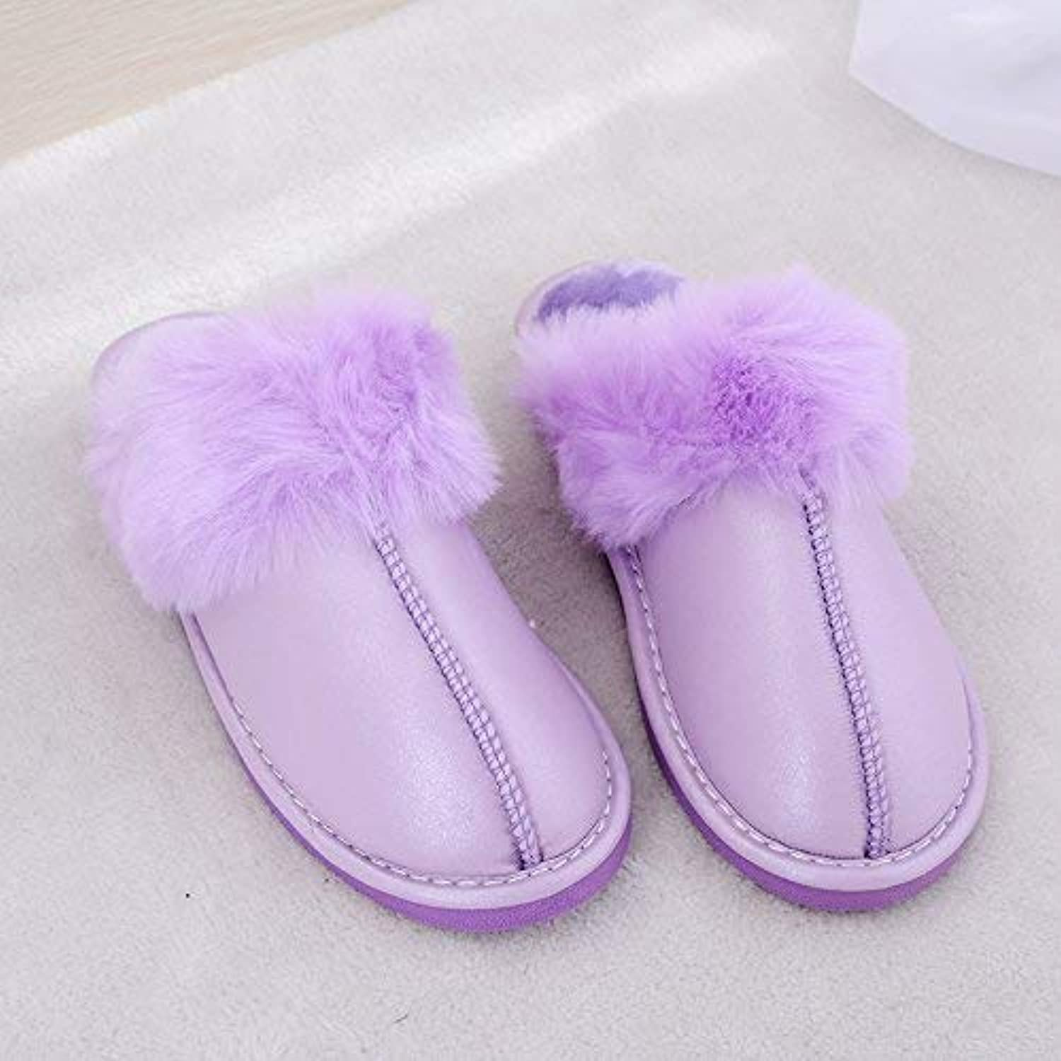 Lady Slippers Ladies Casual Autumn Winter Plush Cotton Slippers Warm Faux-Leather Slippers Elegant Super Quality for Women Purple 37