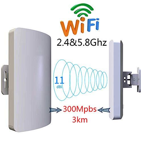 Ejoyduty draadloze externe AP/client-Bridge/CPE met 5,8 en 2 GHz, 300 Mbit/s overdrachtssnelheid, richtantenne, groot bereik, punt tot, IP65, 23 dBm, 11 dBi