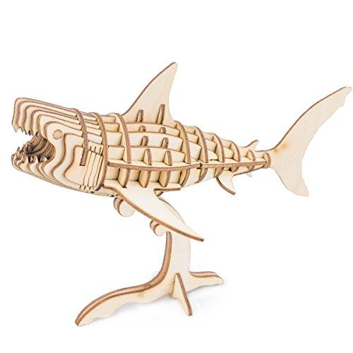 Rolife Squalo Puzzle di Legno 3D Modello di Artigianato Giocattoli Fai da Te per Bambini 8 9 10 11 12 13 14 Anni e up-Best Regalo per Il Compleanno di Natale(Shark)