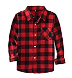 Little Girls' Boys' Long Sleeve Button Down Plaid Flannel Shirt(8 Years,E001)
