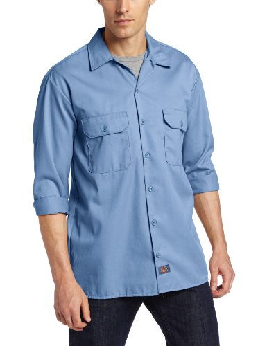 Dickies Men's Long Sleeve Work Shirt, Gulf Blue, X-Large