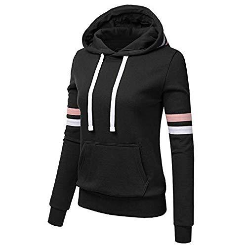 Rikay Womens Stripe Hoodies Ladies Clothes Sale Clearance Casual Slim Hooded Sweatshirt Coat Jacket Jumper UK Size 8-14 Black