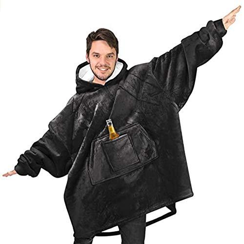 Manta, Con Capucha Sherpa De Gran Tamaño Capucha, Manta Suave Estupenda Usable Cálido, Confortable Gigante Vestido Encapuchado, Gigante Bolsillo Del Suéter Adultos Hombres Mujeres,Negro,Length 88CM
