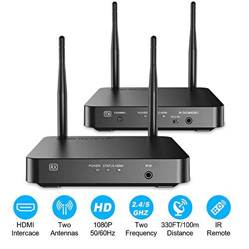 Wireless HDMI Extender Set, Yuanj 5G Wireless HDMI Sender / Transmitter 100 m, HDMI Loop Out / IR-Erweiterung, Full HD 1080p Video Audio HDMI Signal an HD-Fernseher / Monitor / Projektor übertragen