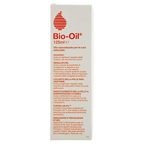 Bio-Oil Olio per la Cura della Pelle, Utile per Cicatrici e Colorito non Uniforme, Ottimo per Prevenire e Migliorare l'Aspetto delle Smagliature anche in Gravidanza, 125 ml