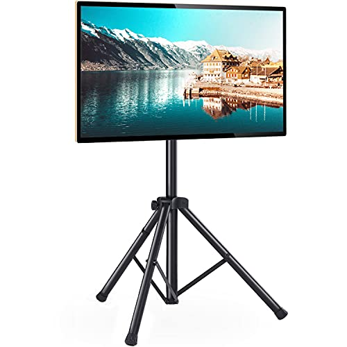 Portable TV Tripod Stand with 360 Swivel and Tilt Mount for 32-60 inch LED LCD OLED Flat Screen TVs/Monitors, Height Adjustable Foldable Mount Stand, Black Floor Display Stand with Max VESA 400x400mm