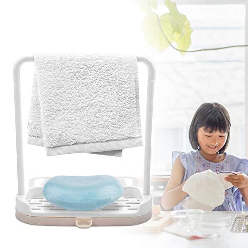 Detachable Bar Sponge Holder Durable Dishcloth Rack Easy to Drain Multifunctional for Kitchen Sink Organizer(Beige)
