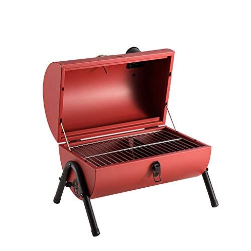 FEANG Großer tragbarer Holzkohlegrill, tragbarer Edelstahl montierbarer Holzkohlegrill mit Deckel für Campingwanderung Picknicks Reisen (Color : Red)