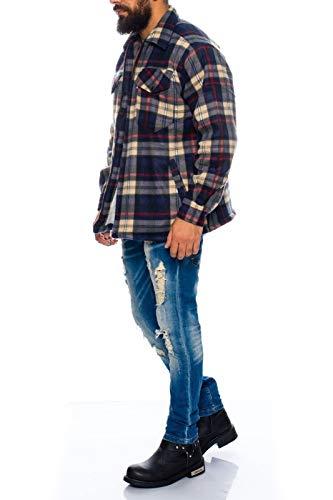 Holzfällerhemd Arbeitshemd Flanellhemd Jacke Kariert Thermohemd gefüttert 04 (Beige, XL)