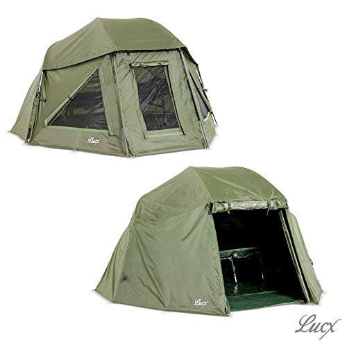 Lucx® Wolf Schirmzelt + Überwurf Brolly incl. Winterskin Shelter with Overwrap Angelzelt + Skin Karpfenzelt 10.000mm Wassersäule