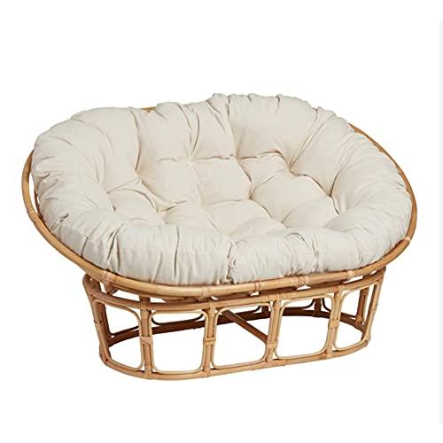 YHKJ Double Papasan Cushion Outdoor Waterproof, Hanging Basket Double Replacement Twill Cushion for Loveseat Patio Seat Cushion Garden Cushions Chair Pad (No Chair),White