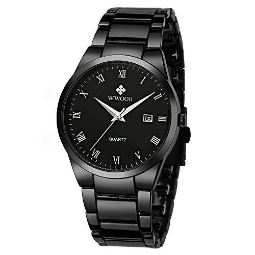 WWOOR Hombre Relojes Análogo Reloj de Pulsera para Hombre Reloj Acero Inoxidable Hombre Color Negros…