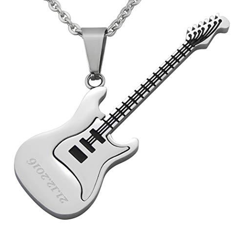 Hanessa Gravierte Edel-Stahl Hals-kette mit Wunsch Gravur Edelstahl Anhänger E-Gitarre in Silber mit individuellem Text. Geschenk für den Freund, für Musiker/Gitarristen