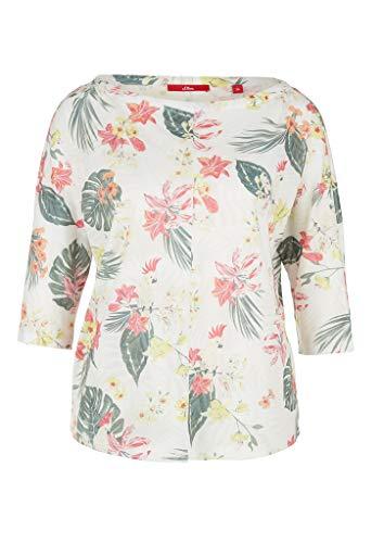 s.Oliver RED Label Damen Floral bedrucktes 3/4-Arm-Shirt Cream AOP Flowers 44