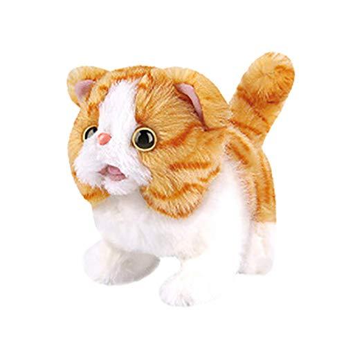 ZHTY Pet Electronic Pet Cat Simulation SIMULACIÓN DE LOS NIÑOS DE LOS NIÑOS DE LOS NIÑOS CARRITARÁ Y PISTARÁ PEQUEÑO Cat, para NIÑOS Song (Color : Yellow, Size : 11.5X13X17CM)