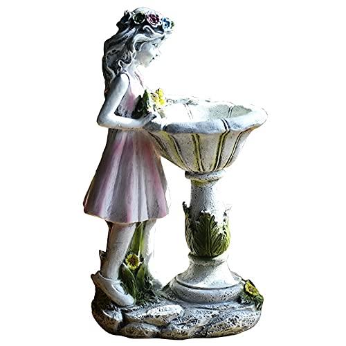 Jodimitty Blume Fee Gartendeko, Wetterfest Blumenfee Solar Figur, Deko Harz Gartendeko Figuren Solarleuchte Garten Dekoration, Gartenfigur...