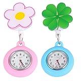 Baluue 2 Piezas Enfermera Relojes Clip de Plástico en Relojes de Enfermería Flor Solapa Pin-On Broche Fob Relojes Redondos Relojes Colgantes para Decoración Enfermera