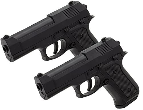 2X B.W. Softair Gun Airsoft Pistole + Munition | 42A - Schwarz Voll ABS | 13,5cm. Inkl. Magazin & unter 0,5 Joule (ab 14 Jahre)