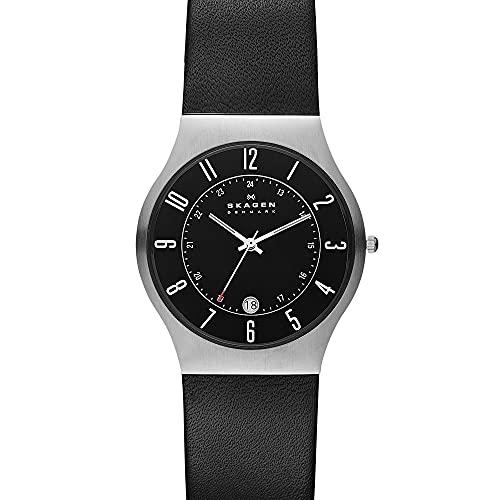 Skagen Men's Sundby Quartz Analog Stainless Steel and Leather Watch, Color: Rose Gold/Black (Model: 233XXLSLB)