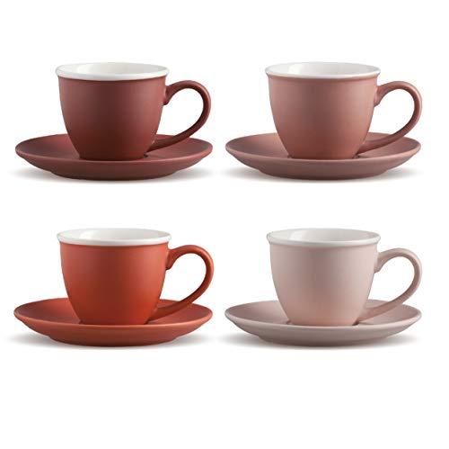 BERELA HOME - Jasny Set de 4 Tazas y Platos de Porcelana. Tazas de 80 ml de Capacidad. Juego de 4 Tazas y 4 Platos para café.