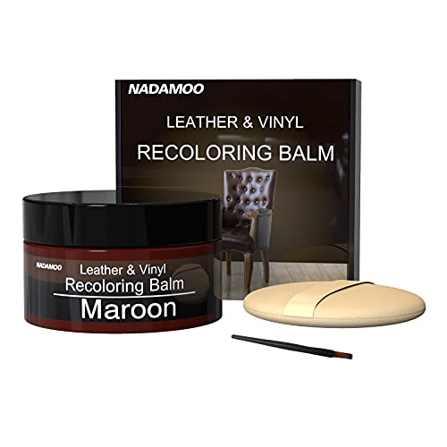 NADAMOO Leather Recoloring Balm Maroon 225g / 8 oz, Leather Repair Kits for Couches, Restoration Cream Scratch Repair Leather Dye for Vinyl Furniture Car Seat, Sofa, Shoes