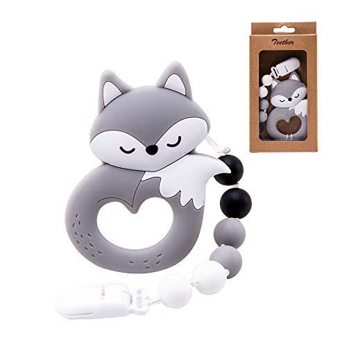 let's make Silikon Schnuller Clip Boy, Süßer Fuchs Tier Beißring Spielzeug mit 100% lebensmittelechtem Silikon Kinderkrankheiten Perlen, Kinderkrankheiten Relief Shower Geschenk