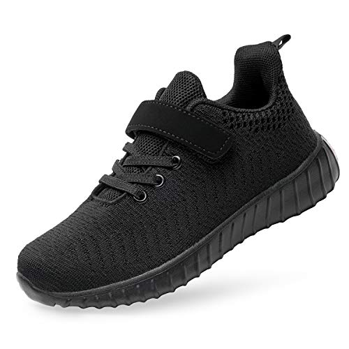 Kids Shoes Fashion Flexible Breathable Mesh Girls Boys Running Shoes All Black 13 Little Kid